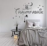 WANDTATTOO AA002 Traumfabrik mit Sternen und Eule Spruch Wanddekoration Schlafzimmer Kinderzimmer Größenauswahl
