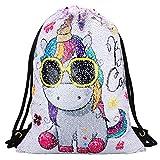 Einhorn Pailletten Rucksack Drawstring Bag Tasche Mode Sporttasche Glitzer Rucksack Pailletten Tasche Tunnelzug für Rucksack Mädchen Bunt