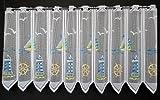 Scheibengardine Leuchtturm 60 cm hoch | Breite der Gardine durch gekaufte Menge in 28,5 cm Schritten wählbar (Anfertigung nach Maß) | Blau Grün Gelb | Vorhang Küche Wohnzimmer