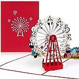 PaperCrush® Pop-Up Karte Freizeitpark mit Riesenrad - 3D Geburtstagskarte, Reisegutschein für Wien (Wiener Prater)