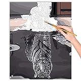 malango® Malen nach Zahlen Set Die Katze und Ihr Spiegelbild über 140 Motive für Erwachsene und Kinder DIY Leinwand Ölgemälde 40 x 50 cm auf Rahmen gespannt Die Katze und Ihr Spiegelbild