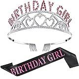 Chengu Geburtstag Glitter Kronen Mädchen Strass Kristall Dekor Stirnband mit Geburtstag Schöne Mädchen Schärpe (Rosa)