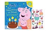 Peppa Pig: Zum Geburtstag viel Glück! Eine Geburtstagsgeschichte mit Musik und ausblasbaren Kerzen (Pappbilderbuch) + 1x Peppa-Pig Stickerbogen