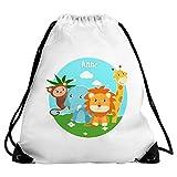 Turnbeutel mit Namen Anne und Motiv mit Tieren (Affe, Elefant, Löwe, Giraffe) für Mädchen | Sportbeutel für Kinder