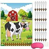 FEPITO Pin The Tail auf der Kuh Geburtstagsfeier Spiel mit 24 Stück Schwänze für Farm Party Dekorationen, Kinder Geburtstagsfeier Dekorationen