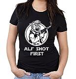 Alf Shot First Girlie Shirt | Alien | Legend | Damen | Frauen | Science | Fiction | ET | Film | Funshirt | Kult (XXL, Schwarz)