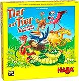 HABA 305520 - Tier auf Tier – Das wackelige Stapelspiel, Geschicklichkeitsspiel für 2-4 Spieler ab 4 Jahren, das beliebte HABA Spiel mit neuen Tierfiguren