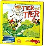 Haba 4478 - Tier auf Tier, Stapelspiel für 2-4 Spieler ab 4 Jahren, mit Tierfiguren aus Holz, auch spielbar als Solospiel